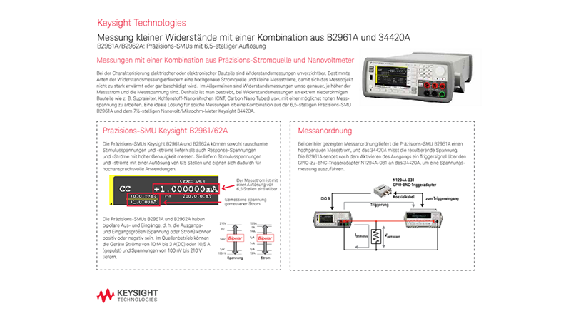 Making Low Resistance Measurements Using the B2961A and 34420A