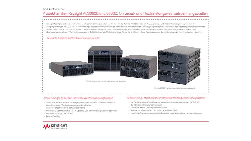 Produktfamilien Keysight AC6800B und 6800C: Universal- und Hochleistungswechselspannungsquellen