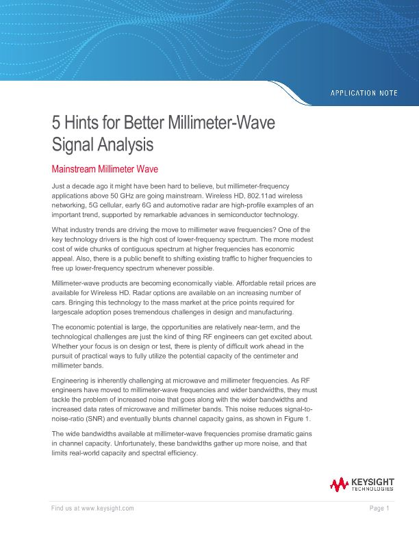 5 Hints for Better Millimeter-Wave Signal Analysis