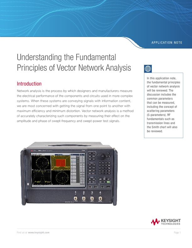 Understanding the Fundamental Principles of Vector Network Analysis