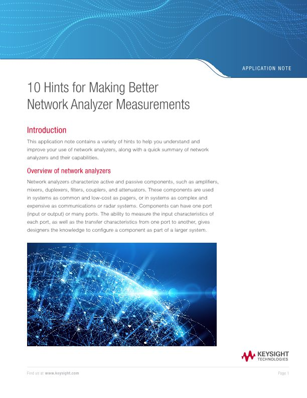 10 Hints for Making Better Network Analyzer Measurements
