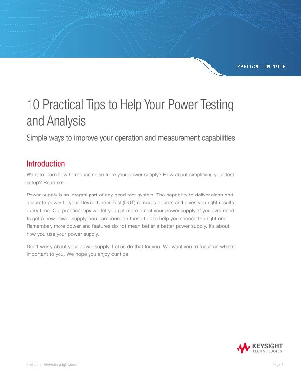 10 Practical Tips to Help Your Power Testing and Analysis