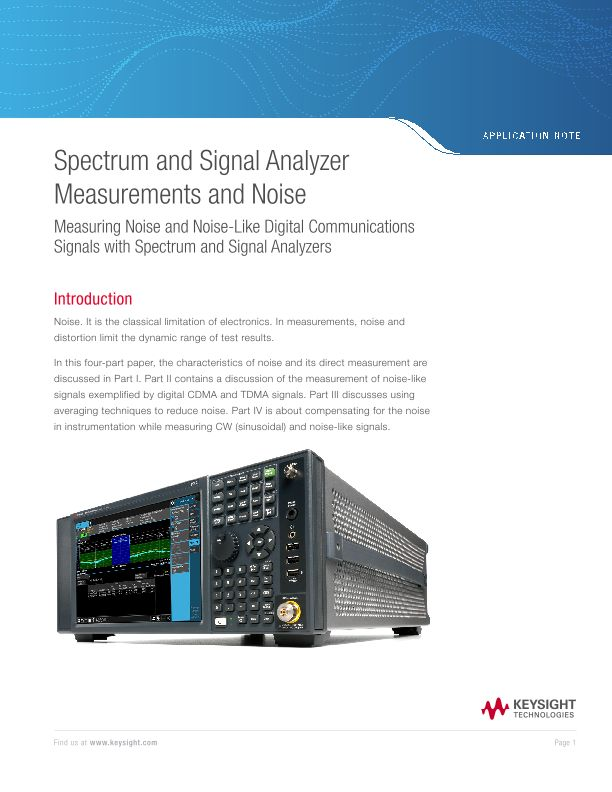 Spectrum and Signal Analyzer Measurements and Noise