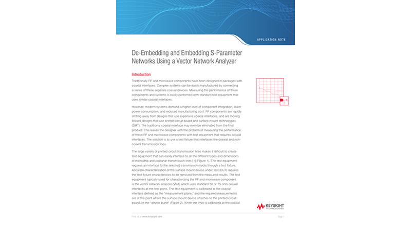 De-Embedding and Embedding S-Parameter Networks Using a Vector Network Analyzer