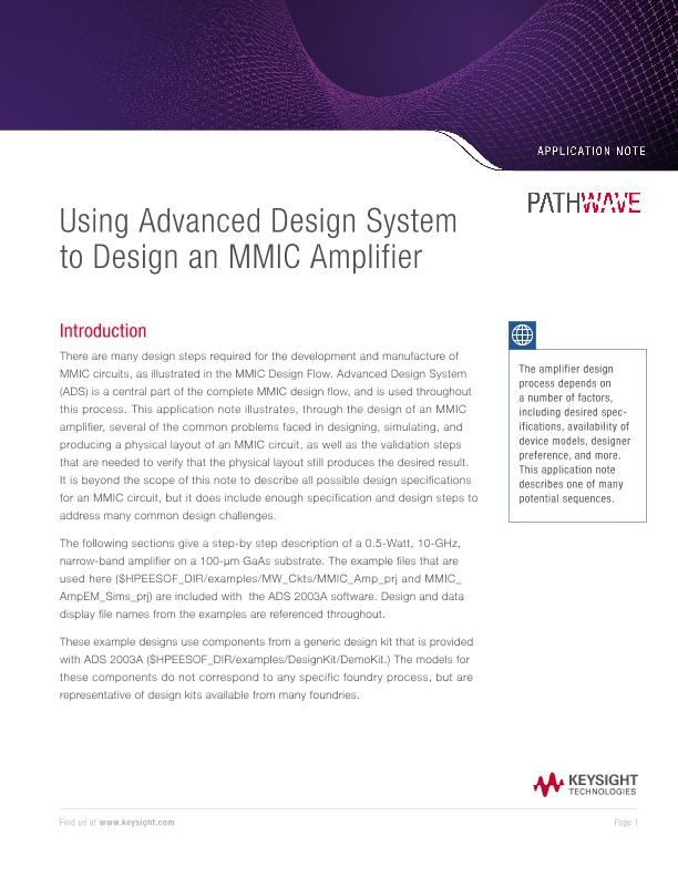 Using Advanced Design System to Design an MMIC Amplifier