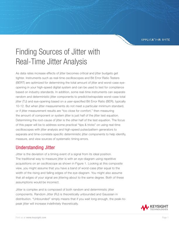 Finding Sources of Jitter with Real-Time Jitter Measurement