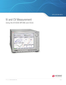 IV and CV Measurement Using the Keysight B1500A MFCMU and SCUU