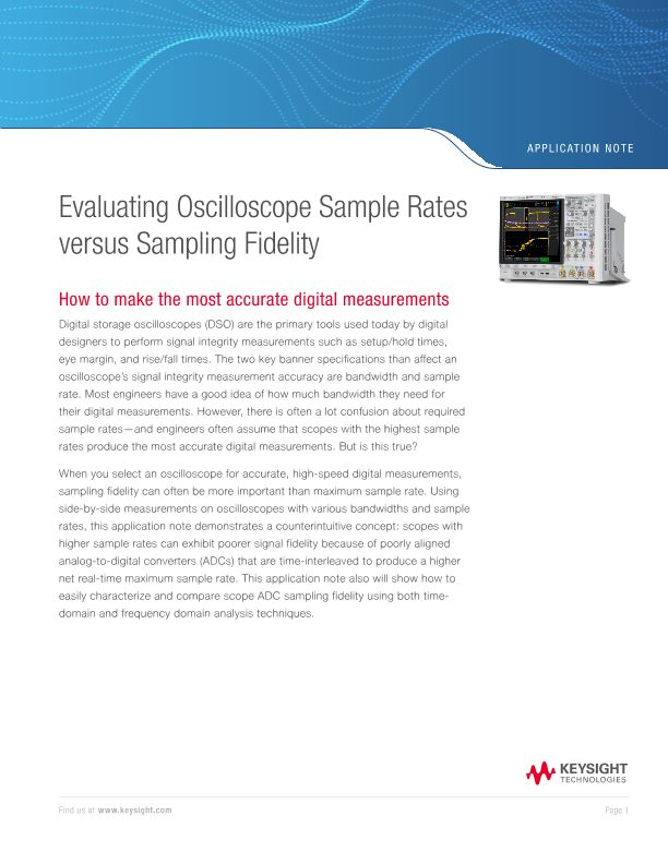 Oscilloscope Sample Rates versus Sampling Fidelity