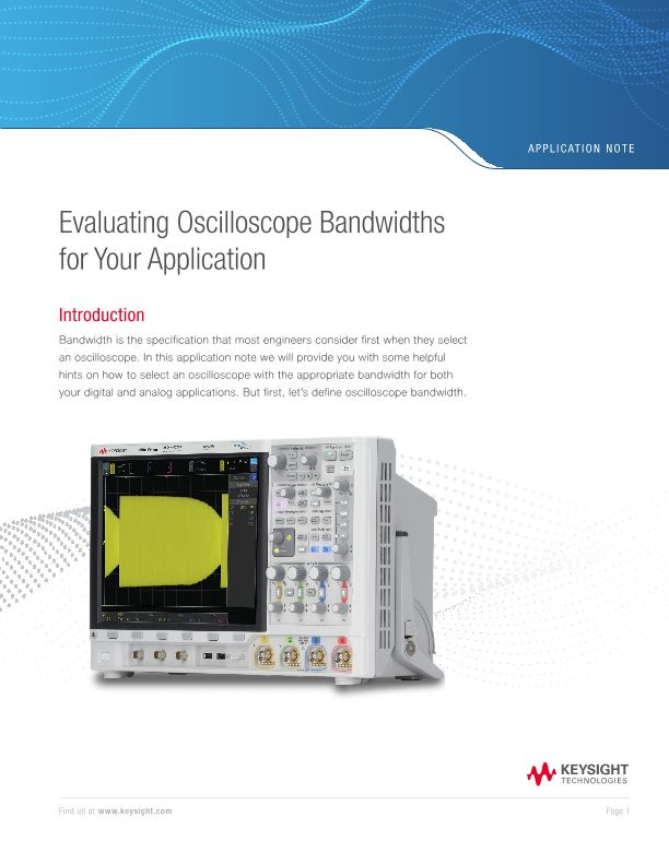 Evaluating Oscilloscope Bandwidths