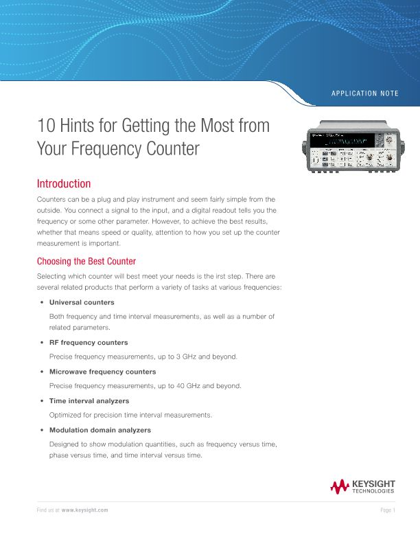 Choosing the Best Frequency Counter: 10 Hints