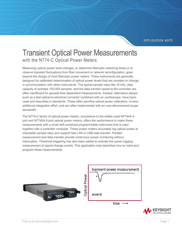 Transient Optical Power Measurements with the N774-C Optical Power Meters