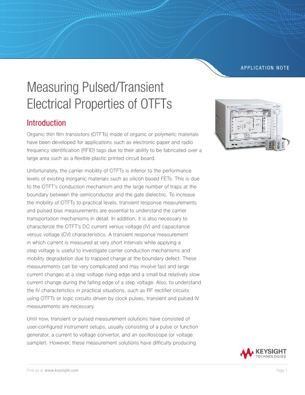 Measuring Pulsed / Transient Electrical Properties of OTFTs