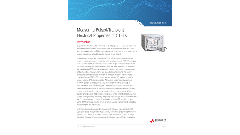 Measuring Pulsed/Transient Electrical Properties of OTFTs