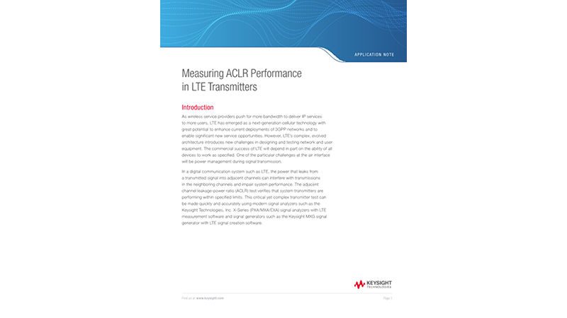 Measuring ACLR Performance in LTE Transmitters