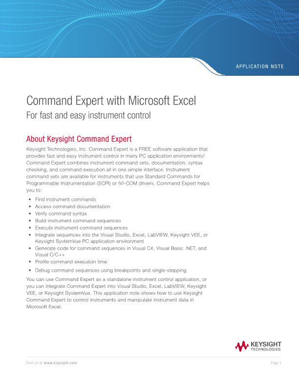 Using Command Expert with Microsoft Excel