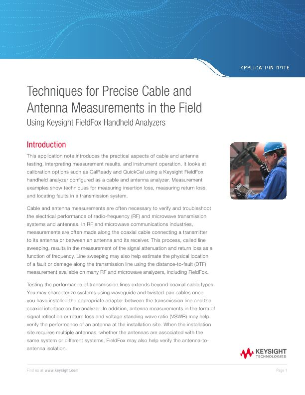 Techniques for Precise Cable and Antenna Measurements in the Field