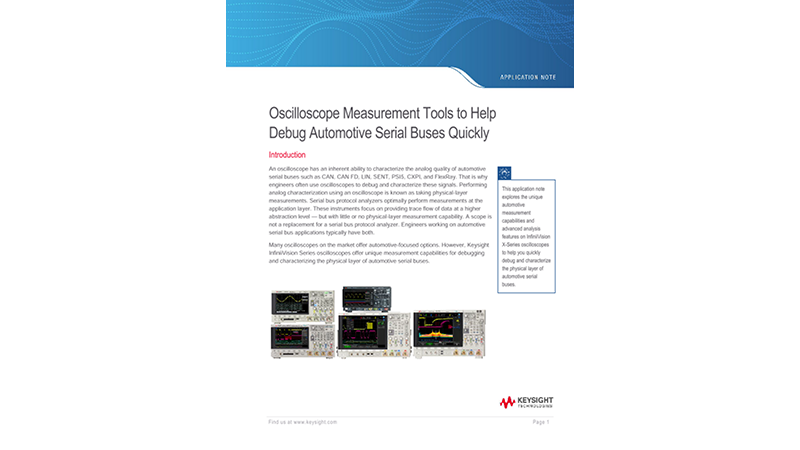 Debugging Automotive Serial Buses with Keysight Scopes