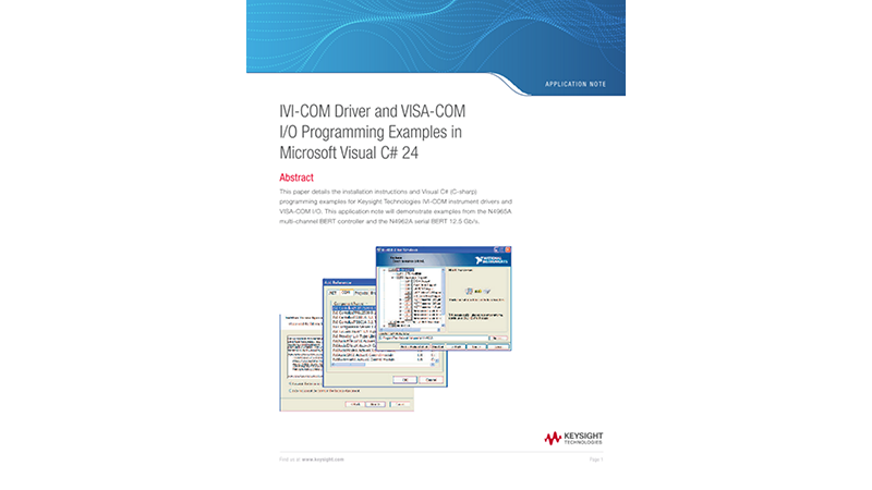 IVI-COM Driver and VISA-COM I/O Programming Examples in Microsoft Visual C#