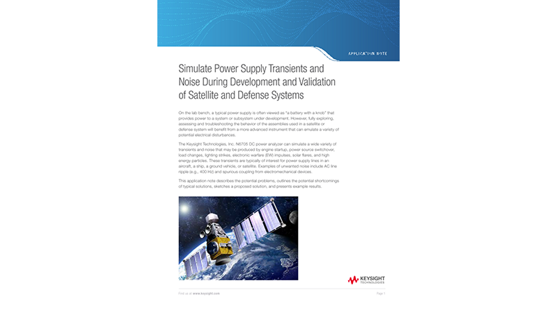 Simulate Power Supply Transients and Noise During Development and Validation of Satellite and Defense Systems