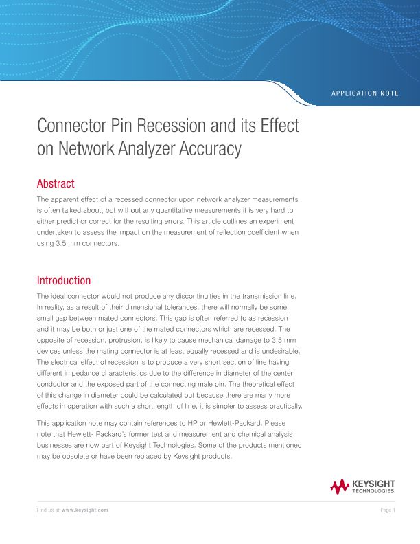 Connector Pin Recession and its Effect on Network Analyzer Accuracy