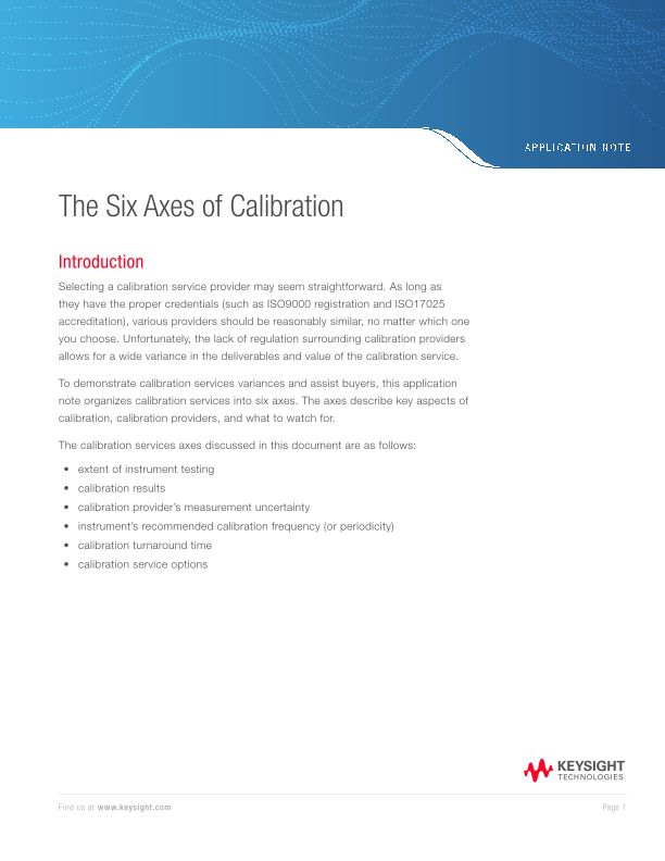 The Six Axes of Calibration
