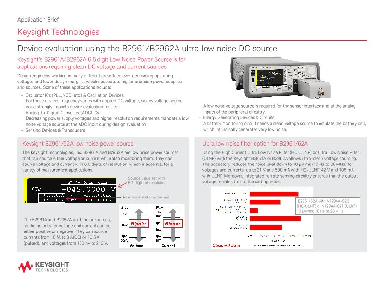 Device Evaluation using the B2961/B2962A Ultra Low Noise DC Source