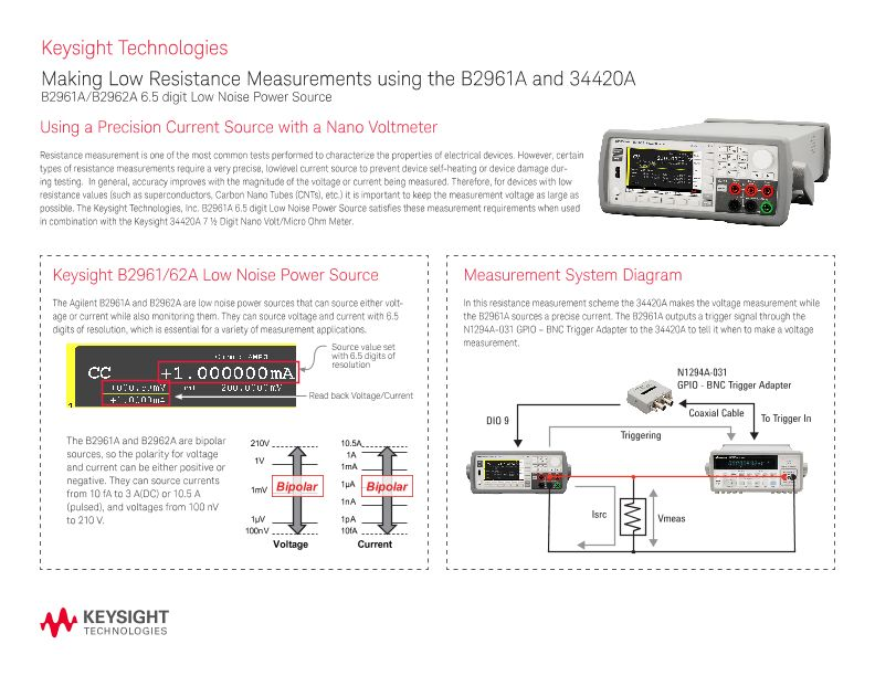 Low Resistance Measurements using the B2961A and 34420A