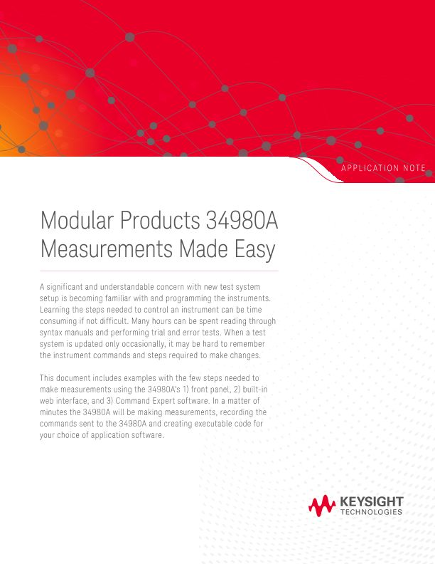 Modular Products 34980A Measurements Made Easy