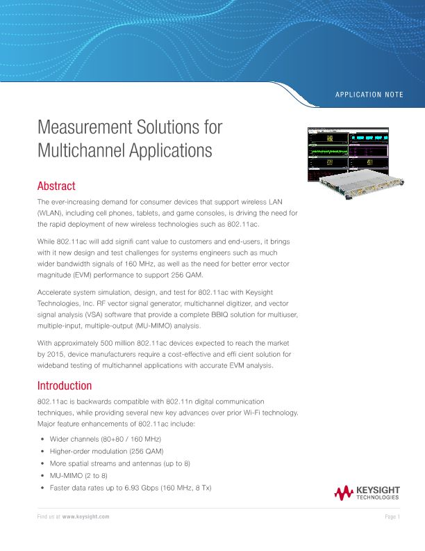 Multichannel Measurements in MIMO 802.11ac Baseband IQ Simulation, Design and Test