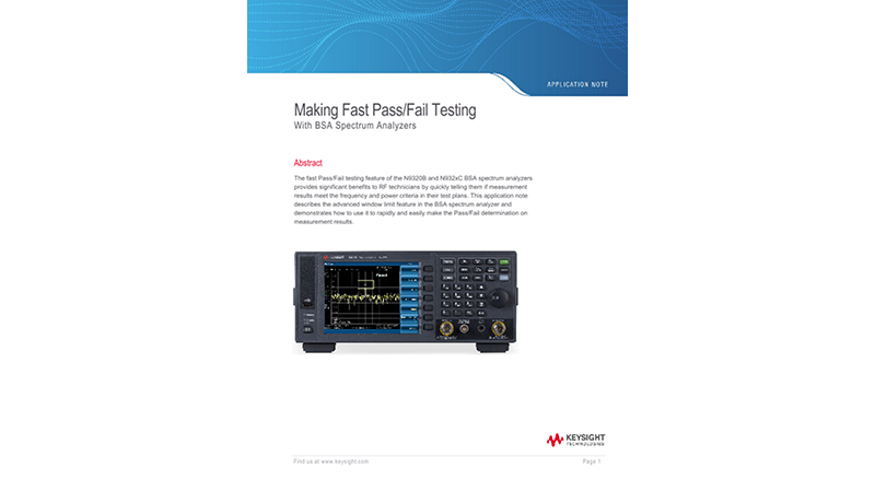 Making Fast Pass/Fail Testing With BSA Spectrum Analyzers