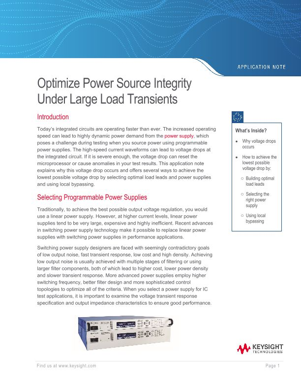 Optimize Power Source Integrity Under Large Load Transients