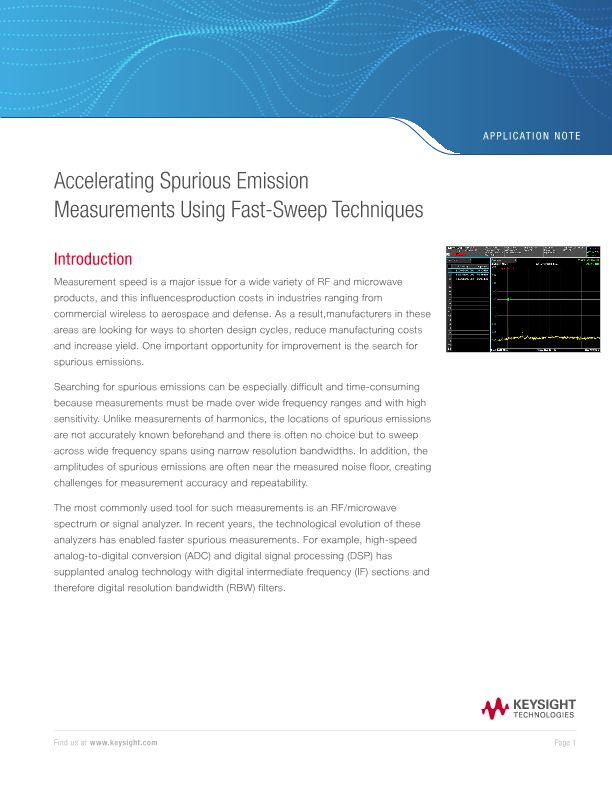Spurious Emission Measurements Using Fast-Sweep Techniques
