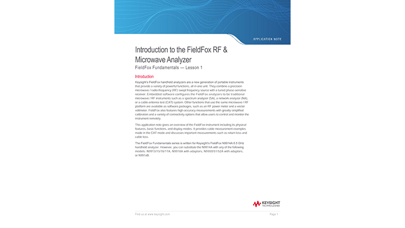 Introduction to the FieldFox RF & Microwave Analyzer