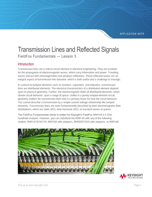 Transmission Lines and Reflected Signals