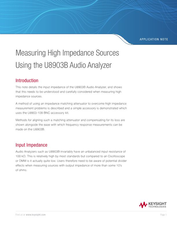 Measuring High Impedance Sources Using Audio Analyzers