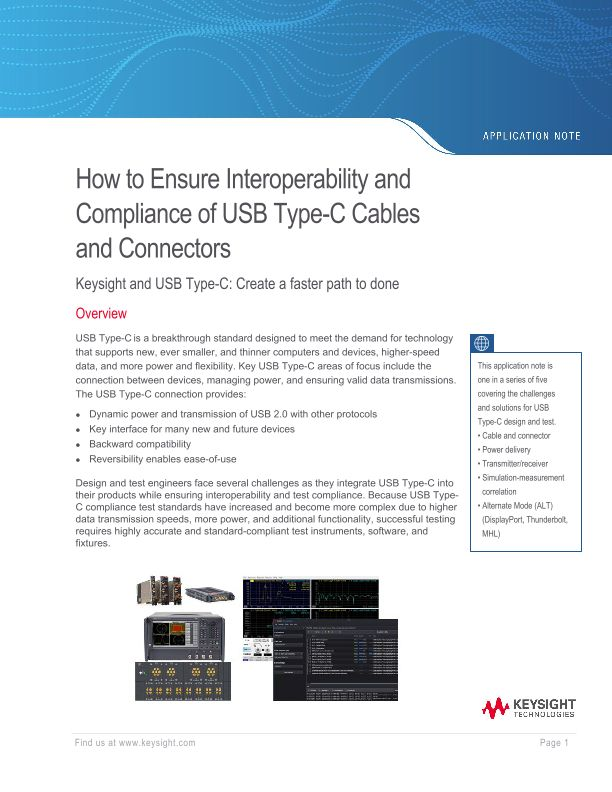 Interoperability and Compliance of USB Type-C™ Cables and Connectors