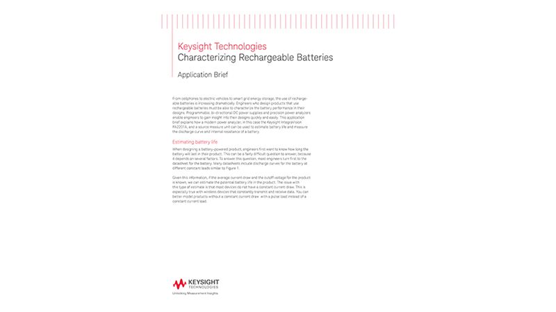 Rechargeable Battery Characterization