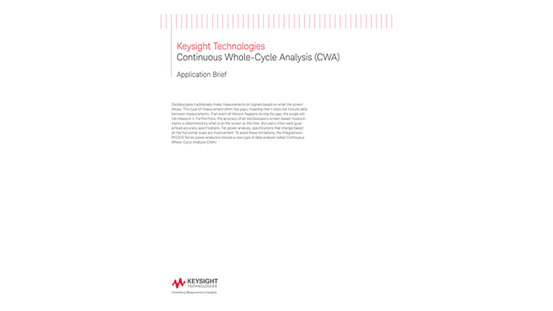 Continuous Whole-Cycle Analysis (CWA)
