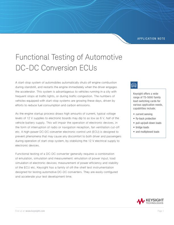 Functional Testing of Automotive DC-DC Converter ECUs