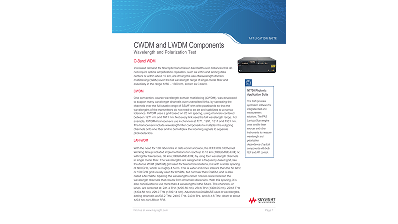 Wavelength-dependence Measurements for 100G-LR4 Components