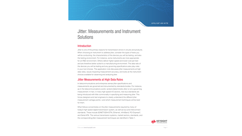 Jitter: Measurements and Instrument Solutions
