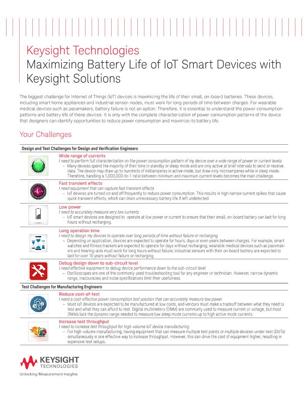 Maximizing Battery Life of IoT Smart Devices with Keysight Solutions