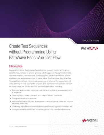 Create Test Sequences without Programming Using BenchVue Test Flow ...