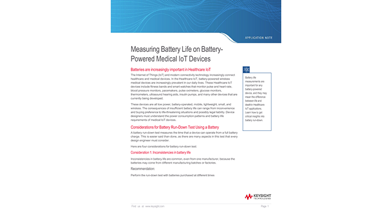 Measuring Battery Life on Battery - Powered Medical IoT Devices