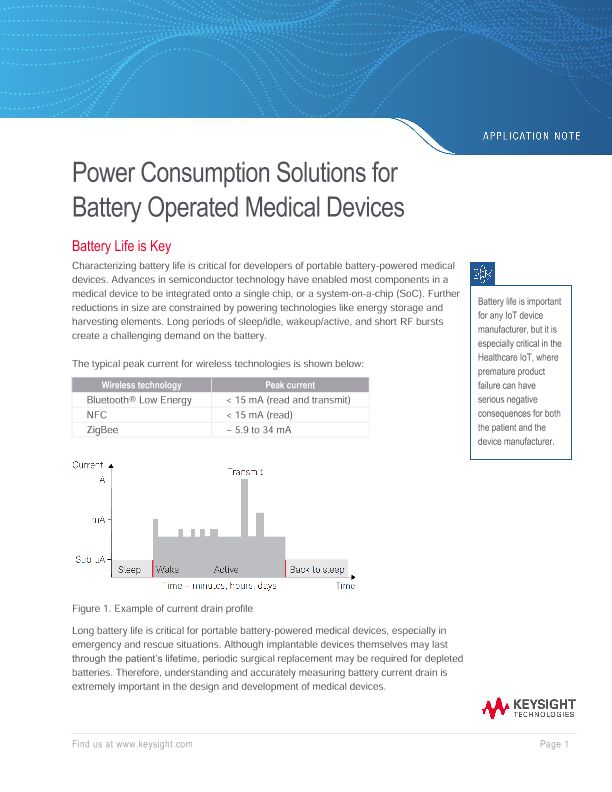 Power Consumption Solutions for Battery Operated Medical Devices