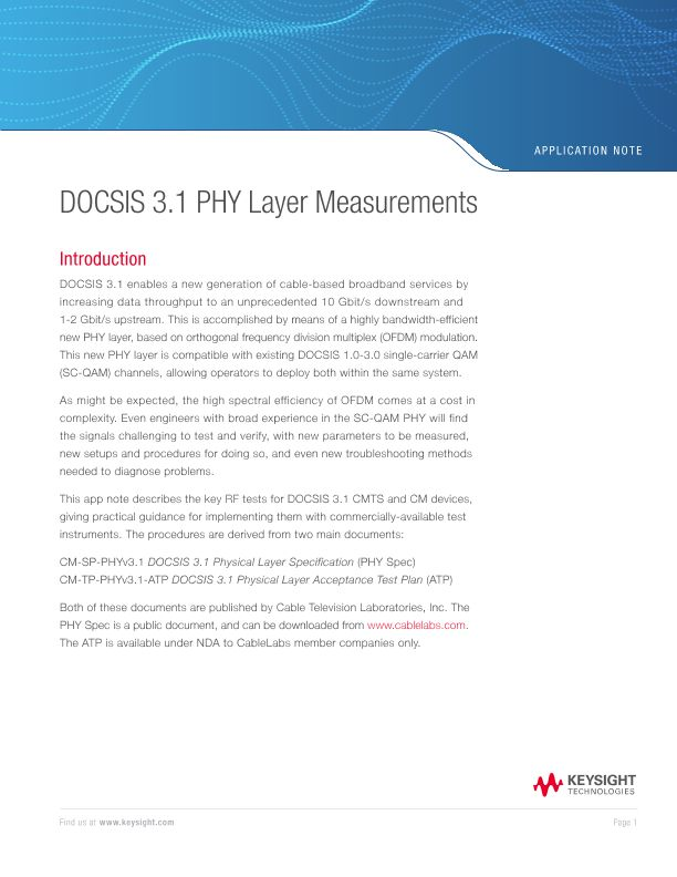 DOCSIS 3.1 PHY Layer Measurements