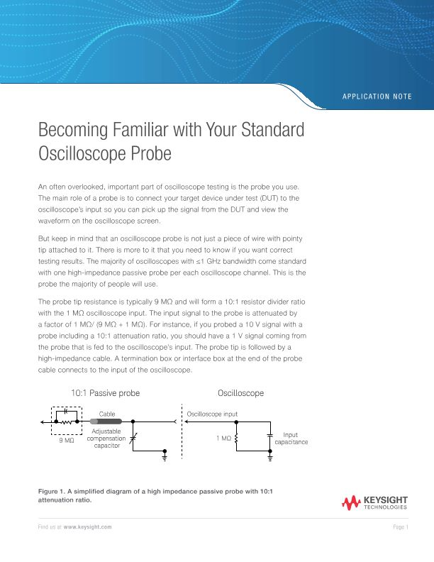 Becoming Familiar with your Standard Oscilloscope Probe
