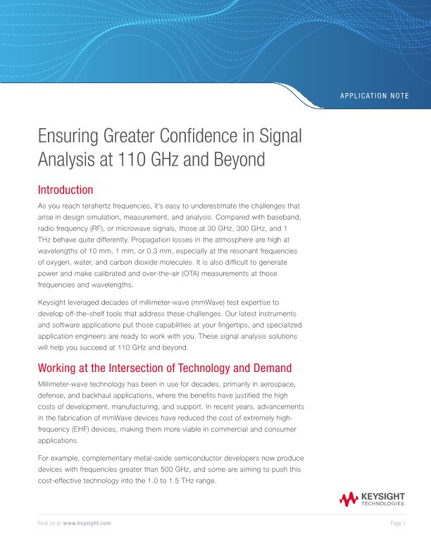 Ensuring Greater Confidence in Signal Analysis at 110 GHz and Beyond