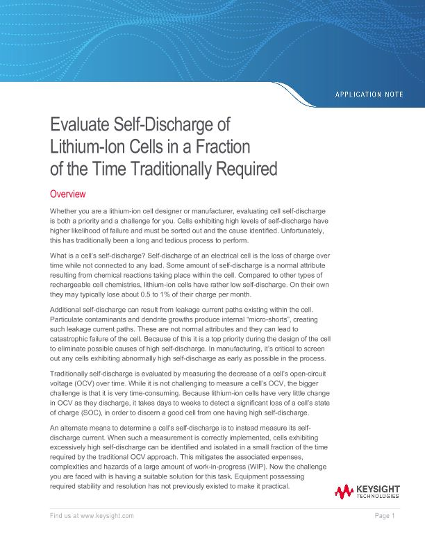 Measure Lithium Ion Self-Discharge of Cells in a Fraction of the Time Traditionally Required