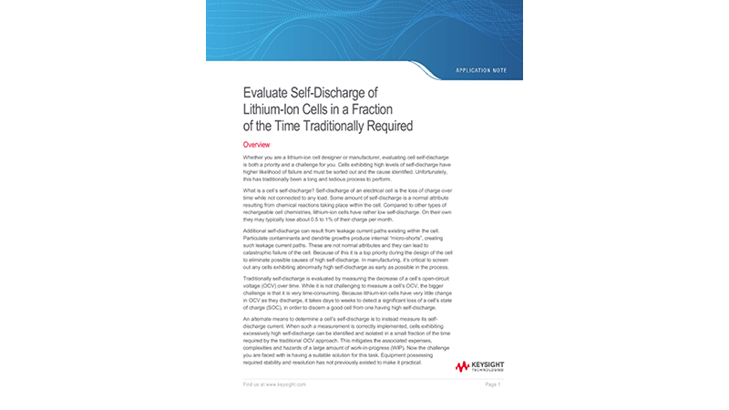 Evaluate Self-Discharge of Lithium-Ion Cells in a Fraction of the Time Traditionally Required